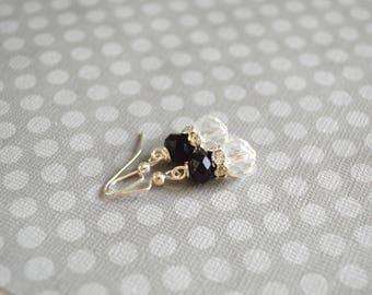 Vintage Earrings. Elegant Earrings. Black and White Earrings. Chic Earrings. Wedding Earrings. Bridal Earrings. Gift For Her Under 15 Dollar