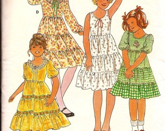 1970s Girls Ruffled Three 3 Tier Dress Vintage Pattern / Butterick 6090 / Size 14