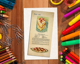 Shabby chic bookmark. Food bookmark. Paper bookmark. Bakery art. Strawberry cake. Food art print. Vintage food illustration. Vintage images