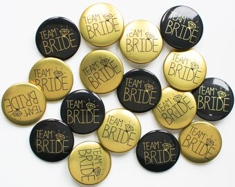 Hen Party Badges in Black and Gold  / Team Bride /  Hen Party / Bridal Shower / Hen Night / Bachelorette / Hen Do