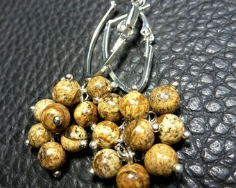 Cute Natural Picture Jasper & Silver Plated Cluster Earrings