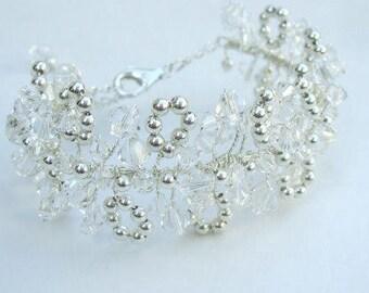 Clear Swarovski crystal wedding bracelet Sterling Silver clear or AB crystal bridal bracelet cluster bracelet statement cuff wedding jewelry
