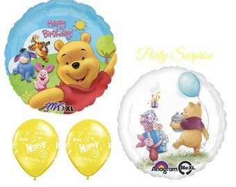 Winnie the Pooh Birthday Balloons Girl Birthday Boy Birthday 1st Birthday Pooh Party Balloons