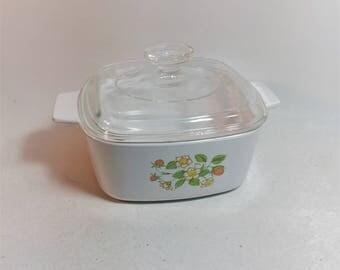 Vintage Corning Ware Strawberry Sunday Casserole Dish With Lid, A-1-1/2 B, 1-1/2  Quart