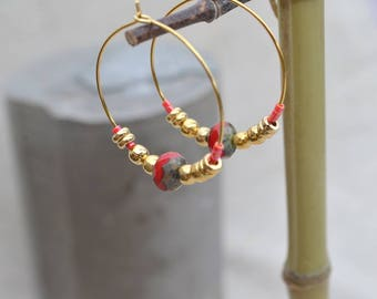 Earrings Creole gold plated and red coral.