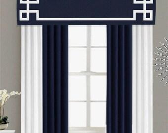 Greek Key Valance Cornice Board Pelmet Box Window Treatment in Navy Blue with White Ribbon Banding Trim - Custom Valance Curtain Topper
