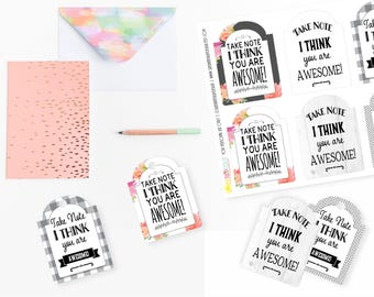 Printable Take Note You are Awesome Gift Tags, Printable Teacher Appreciation Tags, Friendship Gift Tags by SUNSHINETULIPDESIGN