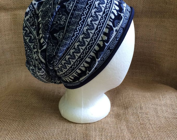 Slouchy Hat that is Reversible with Bohemian Elephant pattern and Solid Navy Bamboo for Men or Women