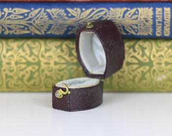Antique Ring Box Engagement or Wedding Ring Box - Tiny Ring Box