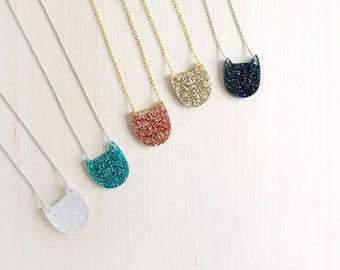 Mini pancake cat necklace - handmade from glitter acrylic