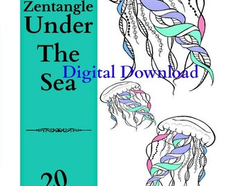 Adult Coloring Book Zentangle Under The Sea Art Therapy Vol 4 20 Printable