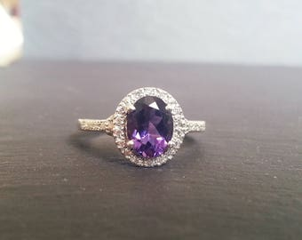Amethyst 0.50ct Diamond Halo Engagement Ring
