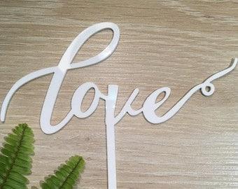 Love Acrylic White Gloss Wedding Cake Topper