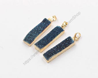 Druzy Bar Pendants -- With Electroplated Gold Edge Drusy Geode Charms Wholesale Supplies Handmade YHA-284