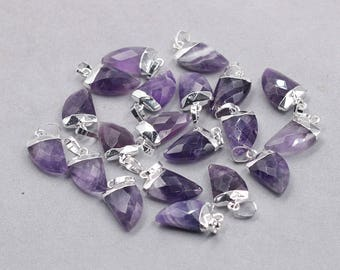 16mm Faceted Amethyst Small Horn Pendants -- With Electroplated Silver Edge Gemstone Charms Wholesale Supplies YHA-329