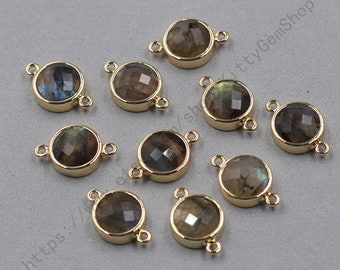 12mm Faceted Labradorite Connectors -- With Electroplated Gold Edge Charms Wholesale Supplies YHA-345