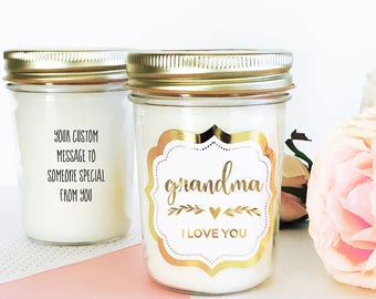 Grandma Gift Personalized - Grandma Candle - Grandma I Love You Grandma Card Grandma Gift from Granddaughter Grandma Gift Ideas (EB3178FT)