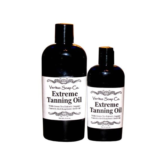 EXTREME TANNING OIL - Green Tea Extract, Organic Carrot, Wheat Germ & Red Raspberry Seed Oil - Vegan / Tan / Beach / Vacation / Beach / Pool