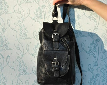 Backpack leather, mini leather backpack, small leather backpack, black leather backpack, backpack women,  backpack leather, backpack vinatge