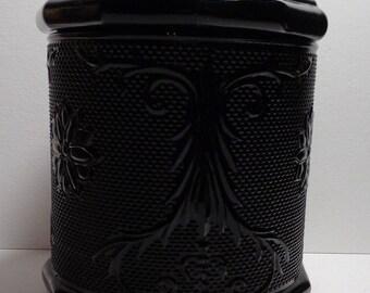 Vintage/Antique Black Glass Biscuit Jar with Lid - Mint Condition - Very Ornate - Beautiful Design - Heavy - c. 1930's Vintage