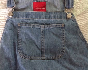 Gloria Vanderbilt denim overalls....shorter version...embroidered hem.....great condition