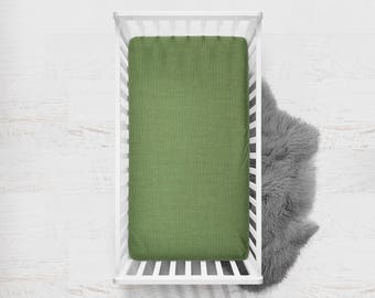 Fitted Crib Sheet Palm. Flat Crib Sheet. Crib Sheet. Toddler Sheet. Baby Sheet. Solid Forest Green Fitted Sheet. Crib Bedding.