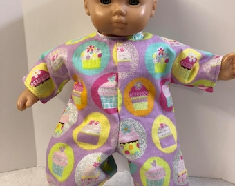 "15 inch Bitty Baby Clothes, Cool ""SPARKLING CUPCAKE"" Romper/Jumper, 15 inch Ag Doll Bitty Baby Clothes or Twin Doll, Happy Birthday Fun!"