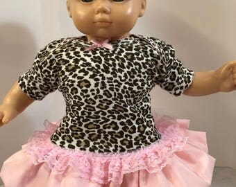 "15 inch Bitty Baby Clothes, Cool ""ANIMAL Print"" Pink Ruffle & Lace Trim Dress, 15"" AG Bitty Baby or Twin, Fits 16 inch Cabbage Patch"