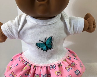 "Cabbage Patch 11 inch PREEMIE Doll Clothes, Pretty ""BLUE BUTTERFLY"" Ruffle & Trim Dress, Cabbage Patch Preemie Doll, 11 inch Preemie Baby"