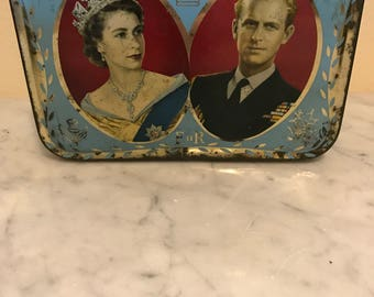 Queen Elizabeth and Prince Charles Coronation Sweet Tin