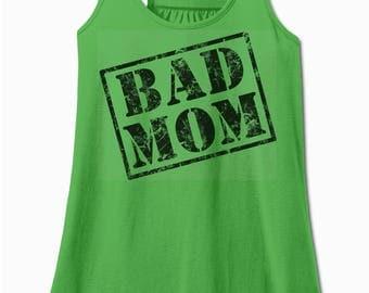 BAD MOM - Flowy Tank Top - racerback tank - ladies workout tank top