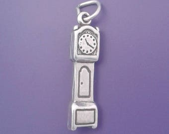 GRANDFATHER CLOCK Charm .925 Sterling Silver Pendant - lp1298