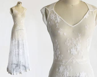 vintage 1930s antique wedding dress / 30s embroidered tambour lace bias cut gown / simple tea length lace wedding old hollywood glam xs s m