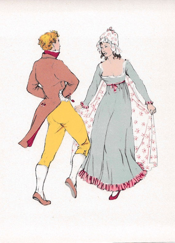 1940's print of 18th century man and woman dancing in very fashionable outfits, published 1940