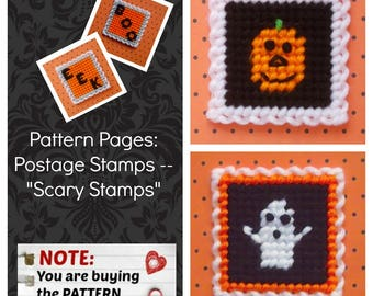 "Plastic Canvas Pattern Pages: Postage Stamps -- ""Scary Stamps"" (4 designs, graphs and photos, no written instructions) ***PATTERN ONLY!***"