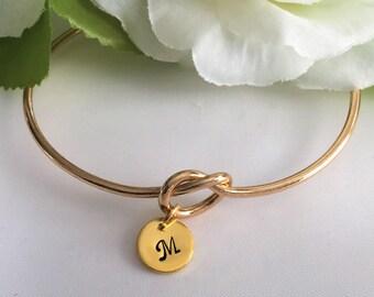Tie the Knot Bracelet, Bridesmaid Gift Bracelet, Gold Tie The Knot Bracelet, Personalized Bracelet, Gold  Bridesmaid Bracelet
