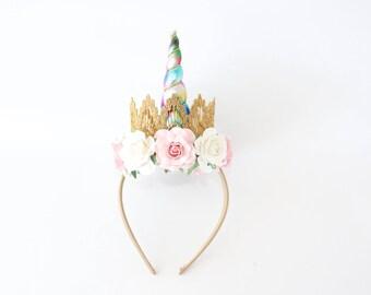 NEW Birthday Flower Unicorn Headband Unicrown - Gold + Rainbow + Pink + White - Unicorn Headband - Photogrpphy Prop - Cake Smash