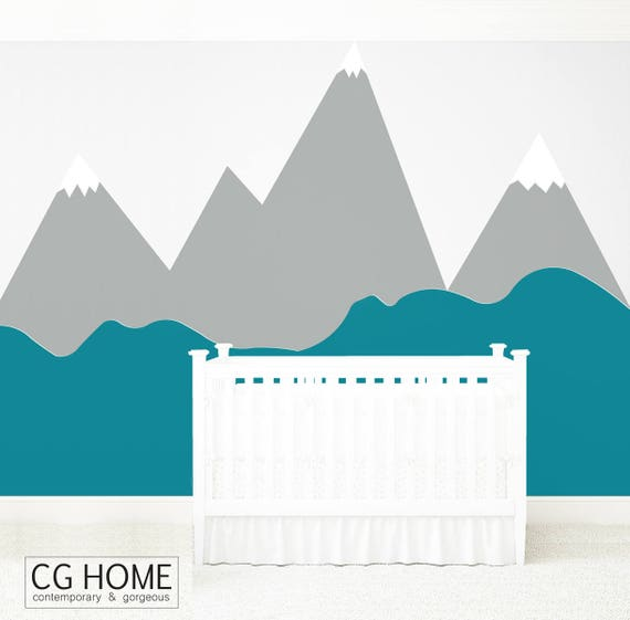 Mountains Wall Decal Wall Protection MOUNTAIN Wall Sticker Wallpaper Corner Pattern Customized Personalized Washable Headboard Nursery Decor