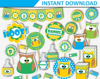 Owl Birthday - Owl Party - Owl Birthday Printable - Owl Party Decorations - Owl Birthday Party - Owl Birthday Decorations (Instant Download)