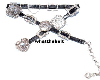 Vintage Belt Conchos Brighton Black Leather Western Medium