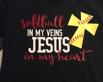 Softball in my veins Jesus in my heart shirt, Jesus shirt, kids Jesus shirt, softball shirt, softball kids shirt, softball Jesus shirt