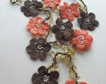 Salmon / Nude, Brown Handmade - Flowered Long Necklace - Crochet Beaded Necklace w/ Natural Stone - Gifts For Her