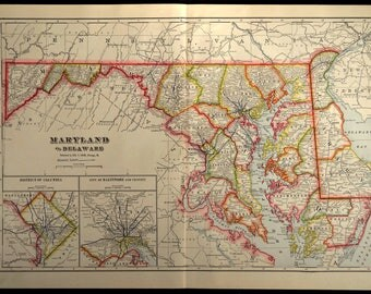 Maryland County Map Etsy - Maryland county map