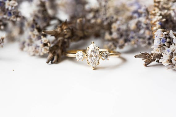 Marquise moissanite 14k three stone engagement ring, gold engagement ring, three stone engagement ring, marquise moissanite engagement ring