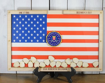Personalized Guest Book/Flag/FBI/Patriotic/Large/Military/Retirement/Heart Drop Guest Book/Wood Shapes/Alternative/Unique/Book Frame