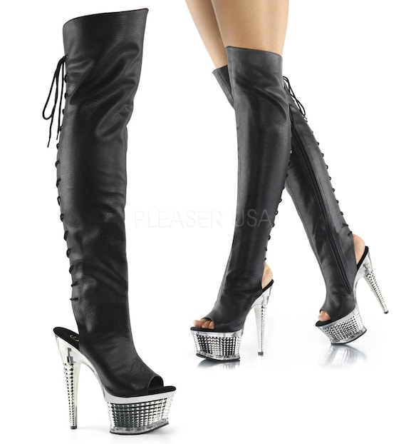 Sexy Black Open Toe Open Heel Lace-Up Back Thigh High Boots