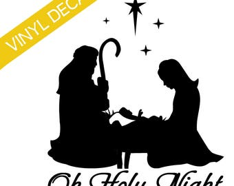 Oh Holy Night Joseph Mary Manger Vinyl Decal Christmas Crafts Relief Society Christmas Activity Groups