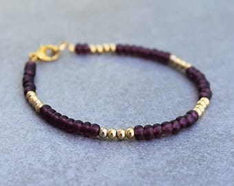 Purple Bead Bracelet, Purple Bracelet, Purple Beaded Bracelets, Purple and Gold Bracelet, Dark Purple Bracelet, Purple Bangle, Gold Bracelet