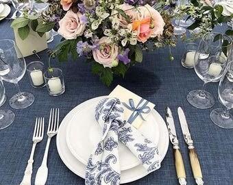 "Blue Jean Wedding Tablecloth - Jean Tablecloth - Denim Tablecloth - Country Wedding Decor - Blue Jean Wedding Decor - Blue Denim -75"" x 100"""