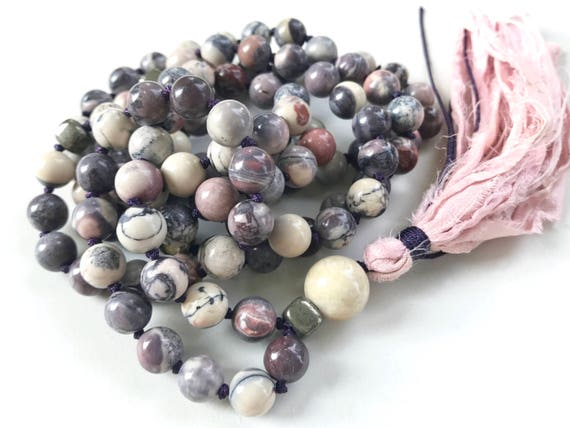 Mala Beads For Calm & Stability, Porcelain Jasper Mala Beads, 108 Beads Mala, Sari Silk Tassel, Knotted Mala, Natural Healing Mala Necklace